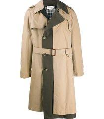 alexander mcqueen panelled trench coat - neutrals