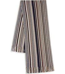 fringed zig-zag wool blend scarf