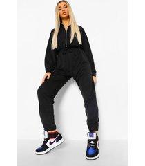 sweatstof jumpsuit met hoge hals en rits, black