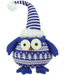 "northlight 12"" chubby blue and white plaid owl with striped hat and winter sweater table top christmas figure"
