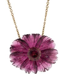 carved pink tourmaline tropical flower necklace