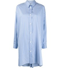 isabel marant vertical-stripe long-sleeve shirt - blue