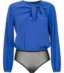 andrea marques pussybow silk bodysuit - blue