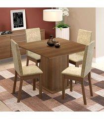conjunto sala de jantar maggie madesa mesa tampo de madeira com 4 cadeiras marrom