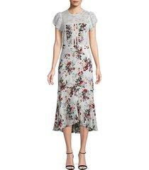 imani print & lace dress
