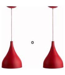 kit 2 lustres pd gota media alumínio 30cm vermelho