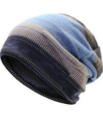 unisex beanie in plus cashemere calda a righe da pedalare sciare all'aperto bonnet hat multifunzione sciarpa