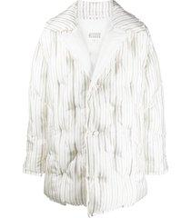 maison margiela vertical-stripe quilted coat - white