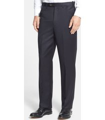 men's berle self sizer waist flat front classic fit wool gabardine trousers, size 35 x unhemmed - black