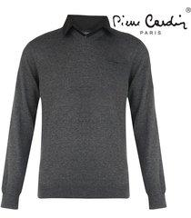 pierre cardin heren v-hals trui met overhemdkraag donker grijs