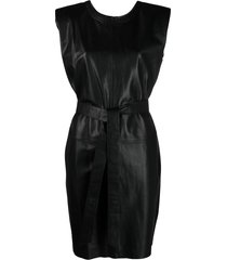 federica tosi panelled leather shift dress - black