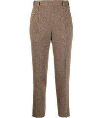 maison margiela tweed high-waist trousers - brown