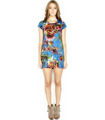 cuba s/s mini t-shirt dress - l royal blue flower