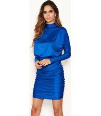 ax paris women's high neck long sleeve ruched dress