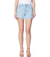 women's paige noella high waist cutoff denim shorts, size 25 - blue