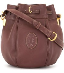 cartier pre-owned logo patch bucket bag - brown