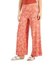 willow drive printed wide-leg pull-on pants