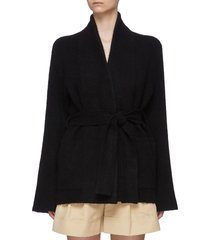 belted wrap front cardigan