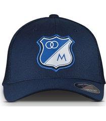 gorra oficial azul oscura de malla millonarios  flexfit otocaps fmip-002 azul oscura