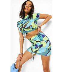 geplooide crop top en rok met abstracte opdruk, turquoise