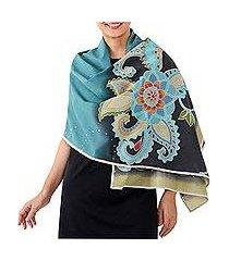 batik cotton shawl, 'sunset garden' (thailand)