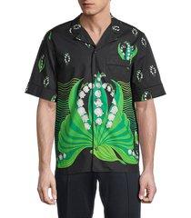 valentino garavani men's camicie regular-fit print shirt - black green - size 44 (34)