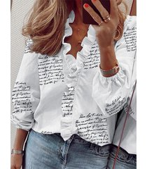 blusa de manga larga con cuello en v y volante con letras