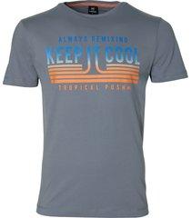 lerros t-shirt - regular fit - grijs