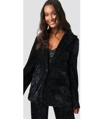galore x na-kd sparkling velvet blazer - black