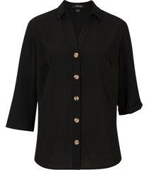 camicetta in crêpe con scollo a v e maniche a 3/4 regolabili (nero) - bpc bonprix collection