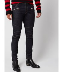 balmain men's embossed monogram ribbed slim jeans - blue - w36