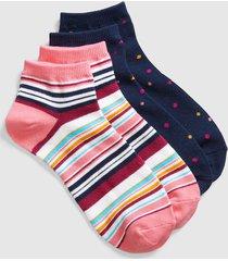 lane bryant women's 2-pack ankle socks - stripes & flowers onesz navy