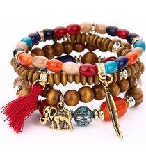 donna retro braccialetto religioso elastico a multistrati con perline e ciondolo di foglia elefante