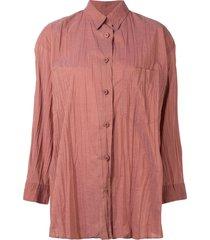 issey miyake pre-owned 1990s crinkle-effect shirt - orange