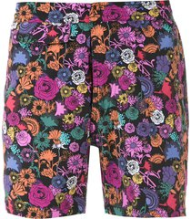 amir slama printed swim shorts - black
