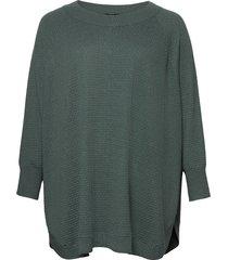 poncho plus ribbed edges round neck knit poncho regnkläder grön zizzi
