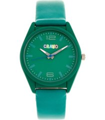 crayo unisex dynamic teal leatherette strap watch 36mm