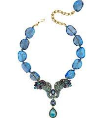 crystal & rhinestone glass beaded elephant pendant necklace