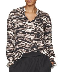 b new york printed bell-sleeve blouse