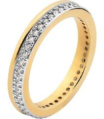 anel aparador de aliança com detalhe liso e cravejado cristais banhado a ouro 18k