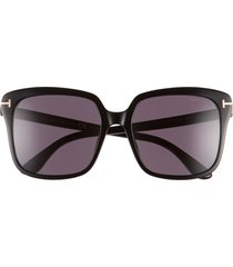 tom ford faye 56mm gradient square sunglasses in black/black at nordstrom