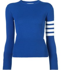 thom browne cashmere classic crew neck pullover - blue
