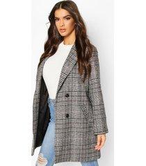 flannel oversized boyfriend wool look coat, black