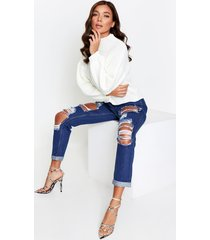 distressed ripped high waisted mom jeans, indigo