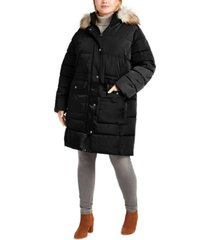 dkny plus size faux-fur trim hooded anorak puffer coat