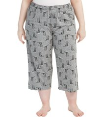 hue plus size sweet kitty temp tech capri pajama pants