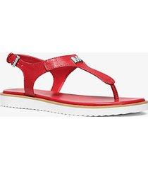 mk sandalo brady in pelle - rosso brillante (rosso) - michael kors