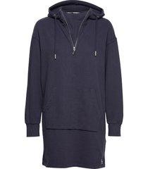 zip front sweat dress kort klänning blå superdry