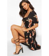 bloemenprint midi jurk met vierkante hals en laagjes, zwart