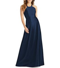 alfred sung lace-up back satin twill a-line gown, size 10 in midnight at nordstrom